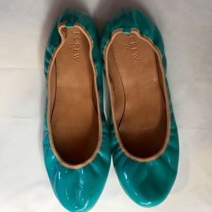 J. Crew Tiffany Blue Patent Leather Flats Sz 9